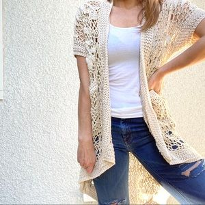 Anthro Angel of the North knit crochet cardigan